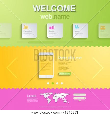 Website design template for mobile devices. HTML5 style. Trendy creative business concept. Editable.