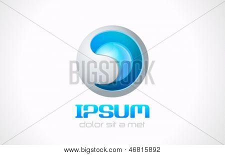 Sphere technology abstract logo vector template. Sci-fi symbol. Bio engineering concept. Future hi-tech sign icon. Editable.