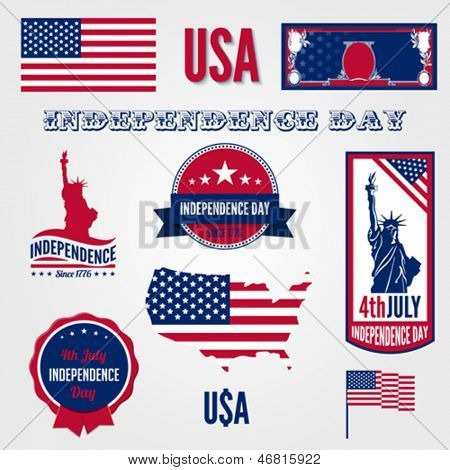 USA Independence day vector design template elements. 4th of July celebration symbols. American National holiday signs.  Medals, labels, icons, banner, flag, dollar, map. Concept. Editable.