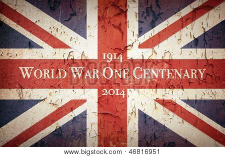 Vintage style Union Jack to commemorate the Centenary of World War One, 1914 - 2014
