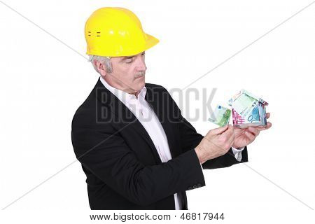 Entrepreneur with piggy bank