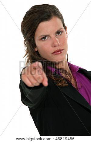 Businesswoman accusing someone.