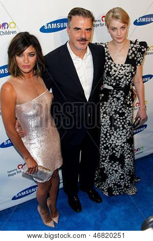 NEW YORK-MAY 29: (L-R) Actress Jessica Szohr, actor Christopher Noth and model Jessica Stam attend the Samsung Hope for Children gala at Cipriani Wall Street on June 11, 2013 in New York City.