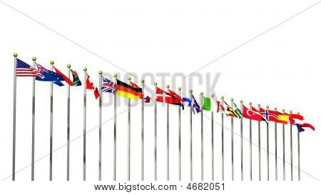 World Flags On White