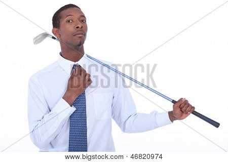 Man with a golf club