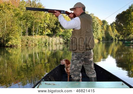 hunter in boat