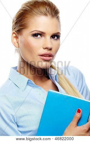 Nice teacher  woman isolated on white
