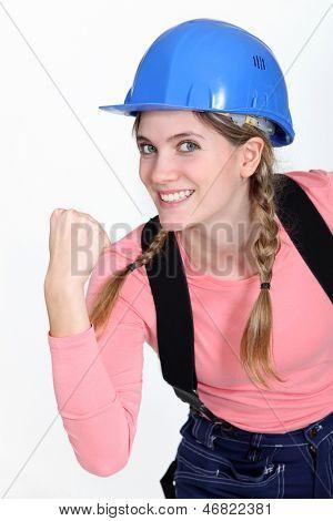 Eager female builder