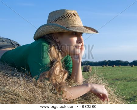 Girl On Fresh Hay