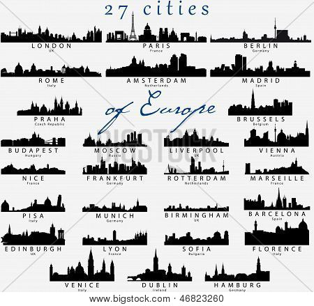 Set of Detailed silhouettes of European cities