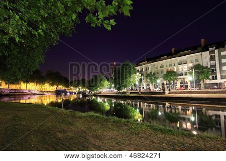 The Erdre by night - Nantes, France