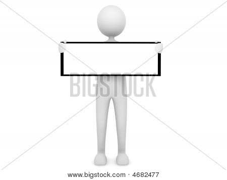3D Man Holding A Board