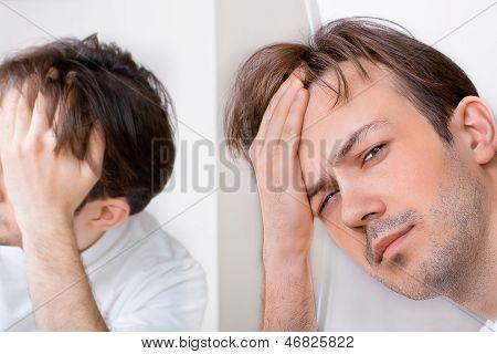 Sleepy Man Suffers From Hangover