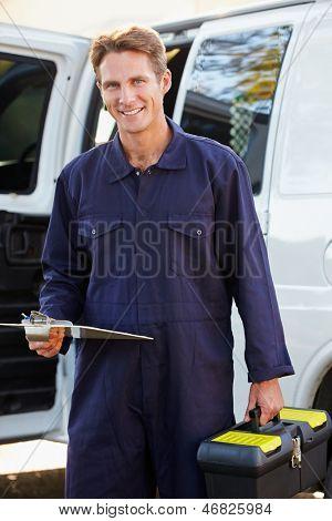 Portrait Of Repairman With Van