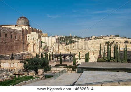 Archaeological Park Near The Walls Of Jerusalem, Israel With Al Aqsa Mosque And The Jeus Graveyard I