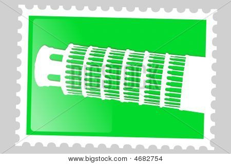 Postage Stamp. Pisa Tower.
