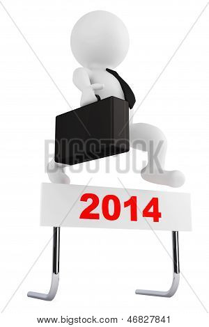 3D Businessman Jump Over The 2014 Year Barrier