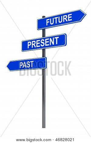 Past, Present And Future Road Sign