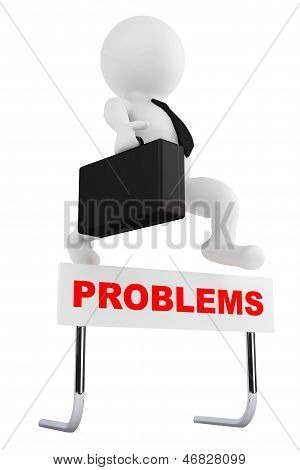3D Businessman Jump Over The Problems Barrier