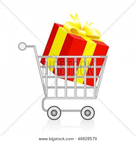 Shopping basket with gift box