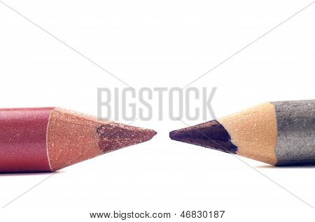Two cosmetic pencils closeup