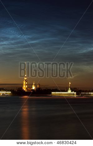 View Of Peter And Paul Cathedral, St.petersburg, Russia In The White Nights