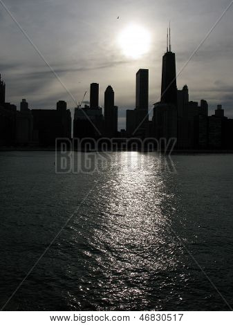 Moon light over Chicago skyline (USA)