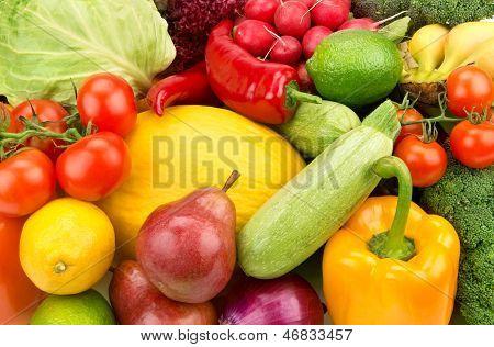 Lichte achtergrond van rijp Fruit en groenten