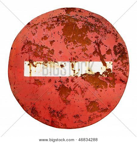 Old No Entry Road Sign Isolated On White Background