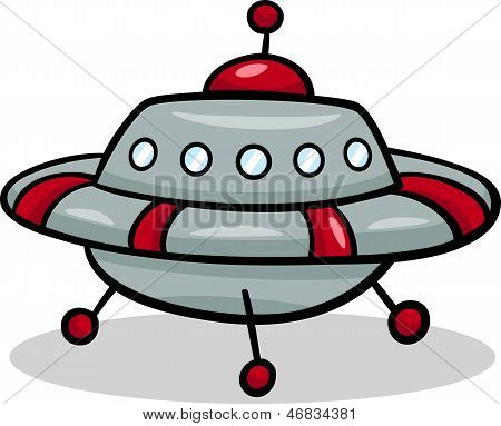 Ufo Flying Saucer Cartoon Illustration