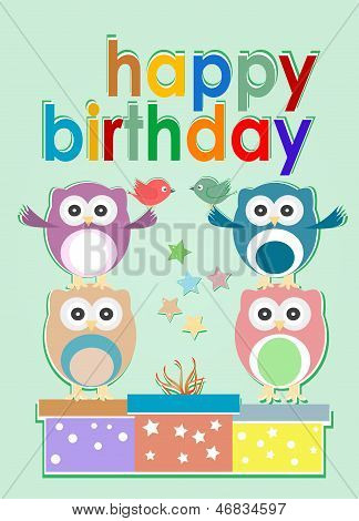 Card With Cute Owl, Birds And Gift Boxes - Happy Birthday