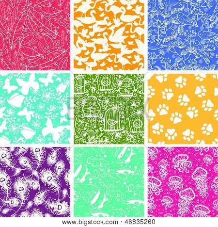 Set of nine animal vector seamless patterns backgrounds