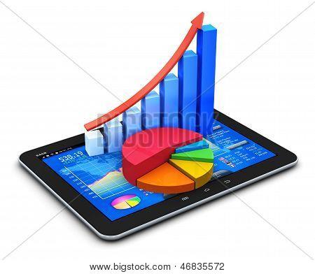 Concepto de finanzas y estadísticas móvil