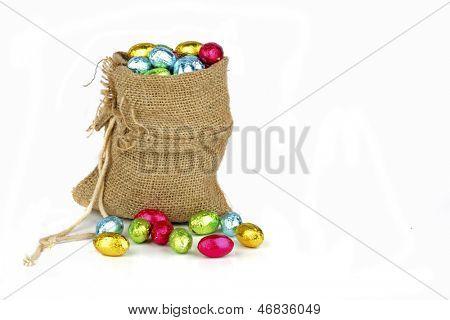 Bag full of easter chocolate eggs