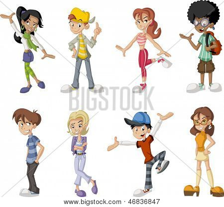 Group of eight happy cartoon children. Teenagers.