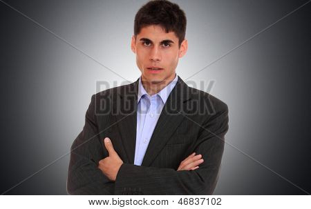 Business man over light gray background