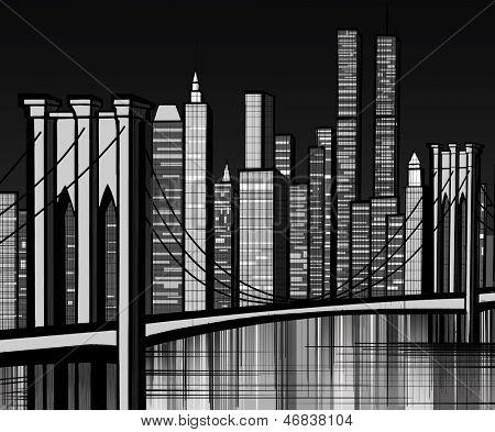 Vector illustration of Brooklyn bridge in New York