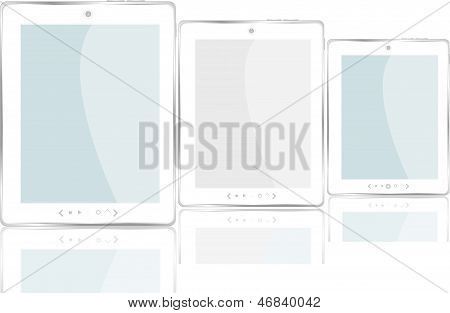 Set Of Modern Digital Tablet Pc. Isolated On White