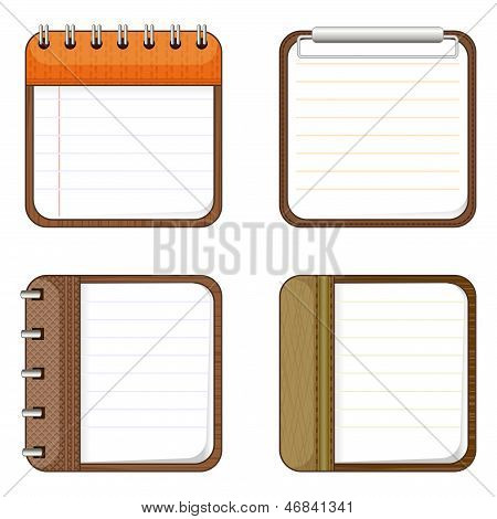 Four Icons Of Notepads