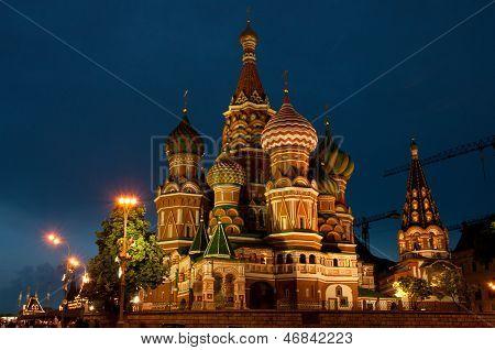 St Basils Cathedral At Night