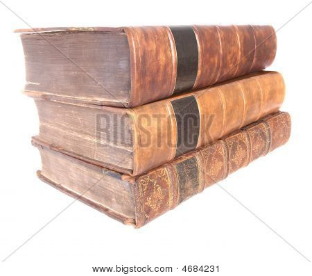 Pile Of Old Leather Bound Books