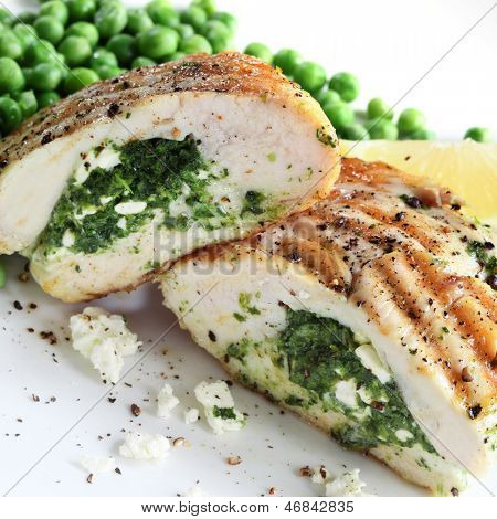 Chicken breasts stuffed with spinach and ricotta cheese.
