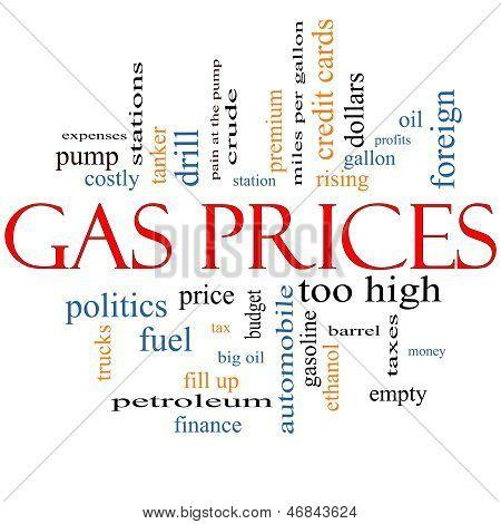 Concepto de gas precios palabra Cloud