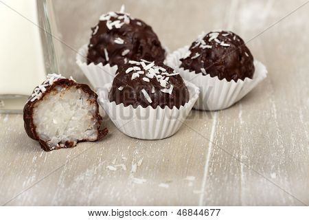 Coconut Milk Rice Truffles With Shredded Coconut