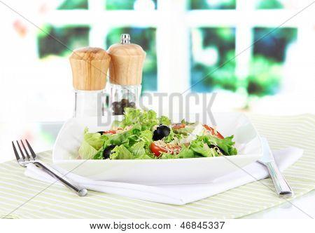 Light salad on plate on napkin on window background