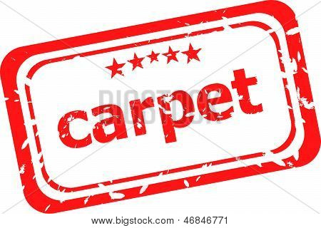 Carpet On Red Rubber Stamp Over A White Background