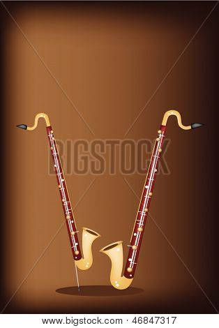 A Musical Bass Clarinet On Dark Brown Background
