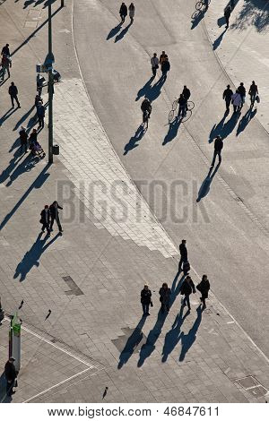 People Walking In A Pedestrian Area Seen From Birds View, Looking Antlike