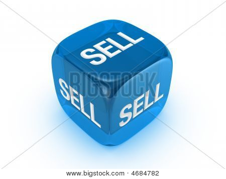 Translucent Blue Dice With Sell Sign