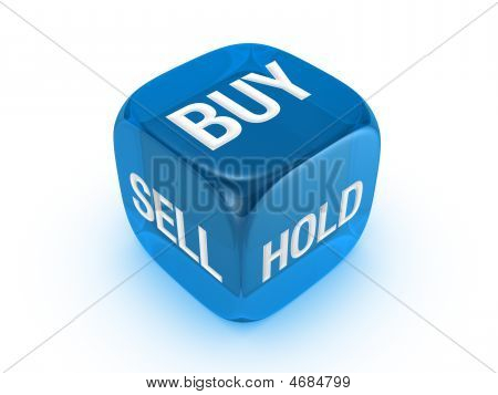 Translucent Blue Dice With Buy, Sell, Hold Sign